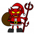 Cartoon red devil dressed like Santa Claus — Image vectorielle