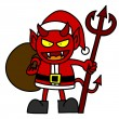 Cartoon red devil dressed like Santa Claus - Image vectorielle