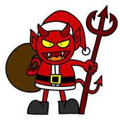 мультфильм красный дьявол одет, как санта-клаус — Cтоковый вектор