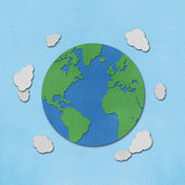 Planet earth recycled papercraft. — Stock Photo