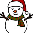 Christmas Snowman Hand writing cartoon. - Stock Photo