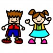 cute Boy und Girl in Cartoon-Vektor-illustration — Vektorgrafik