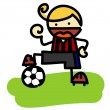 Vector illustration, cute boy playing football, cartoon concept, white background. — Stock Vector