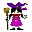 Halloween little witch cartoon - Vektorgrafik