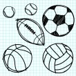 Sport ball hand draw on graph paper. — Stock Vector