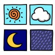 Weather Hand draw cartoon.Illustrator — Image vectorielle
