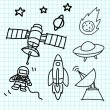 Royalty-Free Stock Vector Image: Space set hand draw on  graph paper.
