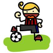 Ilustracja wektorowa, ładny chłopiec gry, piłka nożna, koncepcja kreskówka, białe tło. — Wektor stockowy