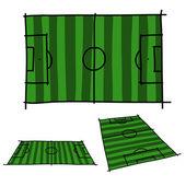 Hand draw soccer field . Vector — Stock Vector
