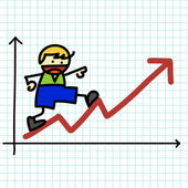 Business hand writing cartoon . — Stock Vector