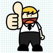 Mano di uomo d'affari disegnare cartoni animati. — Vettoriale Stock