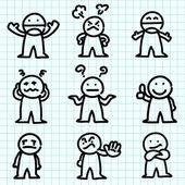 Dibujos animados de emoción sobre papel milimetrado. — Vector de stock