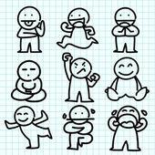 Dibujos animados de emoción en papel cuadriculado azul. — Vector de stock