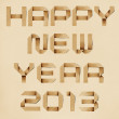 Happy new year 2013 recycled papercraft background. — Stock Photo #15377575