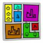 Hand draw city map ,zoning .Illustration — Stock Vector