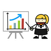 Business and business graph cartoon. — Stock Vector
