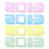 Pegatinas de nota de papel colorido 2013. — Vector de stock