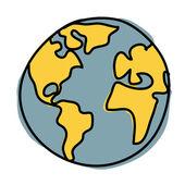 Planet earth cartoon. ( credit, nasa) — Stock Vector