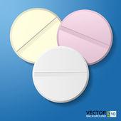Medical pill 3d tablet. Illustrator — Stock Vector