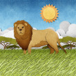 Lion made from recycled paper background - Stock Photo