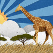 Stock Photo: Giraffe made from recycled paper background