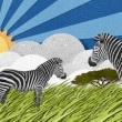 Zebra made from recycled paper background — Stock Photo