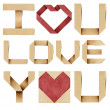 I love you alphabet and red heart  recycled papercraft. — Stockfoto