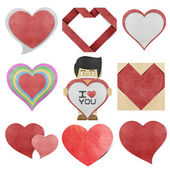 Paper boy and red heart recycled paper — Foto Stock