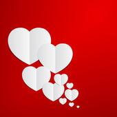 抽象红色心纸张背景. — 图库矢量图片