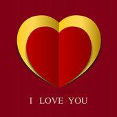 Fundo de papel abstrato coração vermelho. — Vetorial Stock