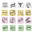Hand draw cartoon on paper note stickers — Image vectorielle