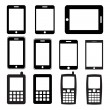 Stock Vector: Set of mobile phones and tablets