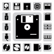 Computer and storage icons set - Stock Vector