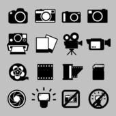 Set of camera and Video icons — Stock Vector