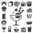 Fast food and dessert icon set. - Stock Vector