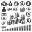 Money and coin icon set. — Stockvektor