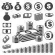 Money and coin icon set. — Stockvectorbeeld