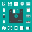 Royalty-Free Stock Vector Image: Computer and storage icons set.
