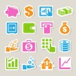 Finance and money sticker icon set. — Stock Vector #22157979