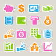 Finance and money sticker icon set. — Stock Vector