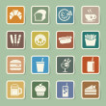 ������, ������: ��� Fast Food sticker icon set