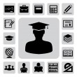 Education icons set. Illustration - Stock Vector