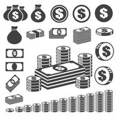Conjunto de iconos de dinero y moneda. — Vector de stock