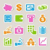 Finance and money sticker icon set. — Stock Vector
