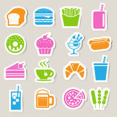 Fast Food sticker icon set — Stock Vector