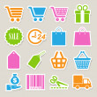Stock Vector: Shopping sticker icons set.