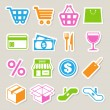 Shopping sticker icons set. - Stockvectorbeeld