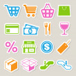 Shopping sticker icons set. - Imagen vectorial