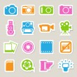 Royalty-Free Stock Vector Image: Camera and Video sticker icons set ,Illustration