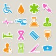 Medical sticker icons set, . Illustration — Stock Vector